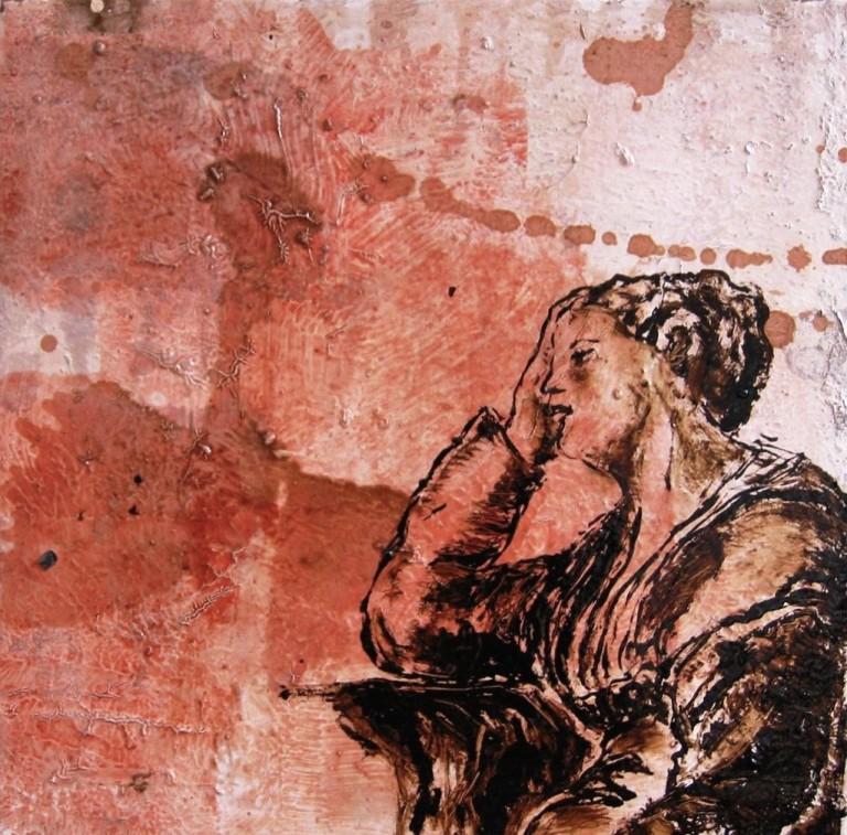 """""""Le songe de Sainte-Hèlène"""" 4 : Huile sur toile, pastels, goudron, 40x40 cm, 2003, d'après """"La vision de Ste Hélène"""" de Véronèse"""