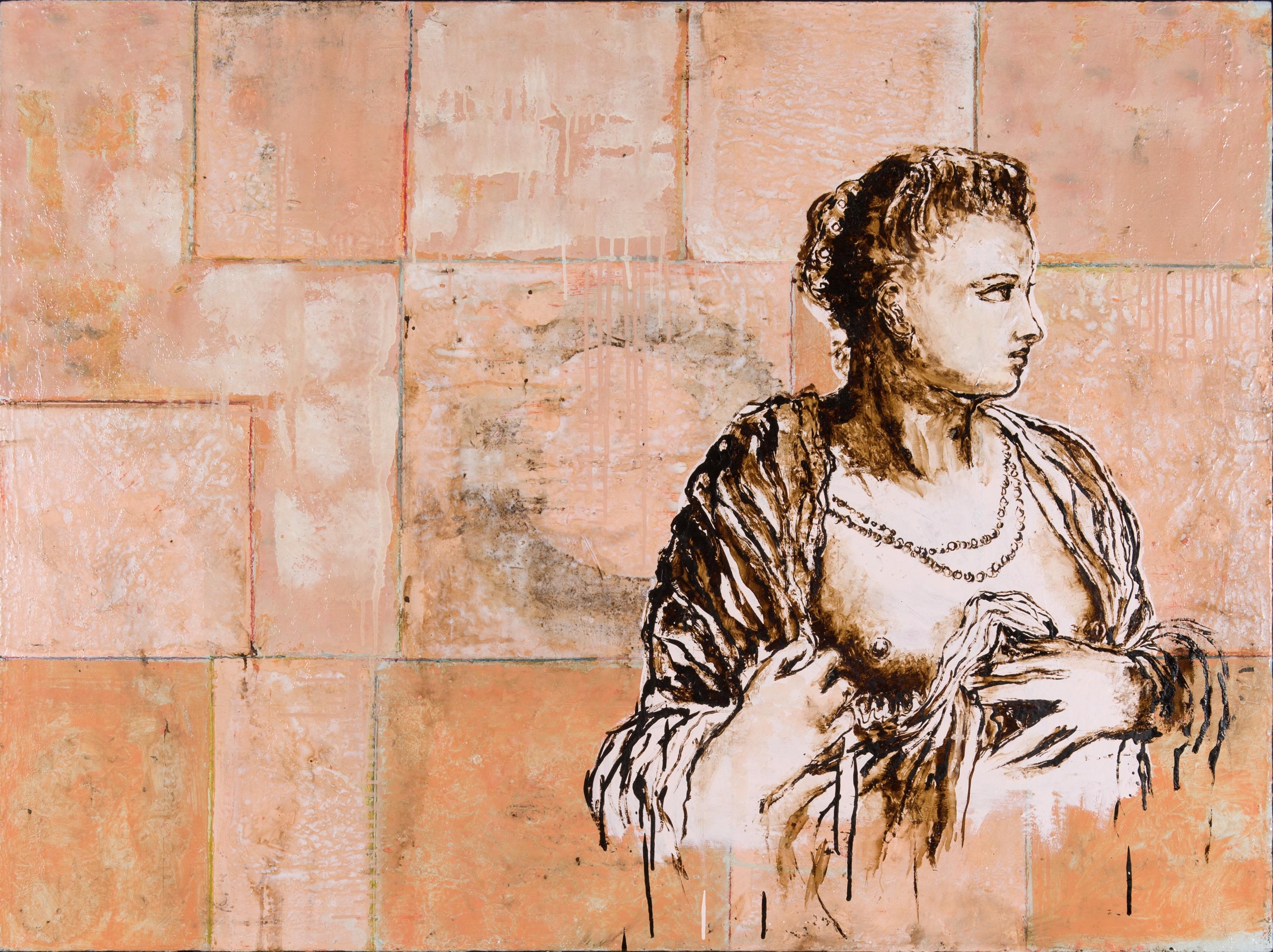 """""""Nana"""", Huile sur toile, pastels, goudron, 89x116 cm, 2003 photographie Isabelle Morison"""