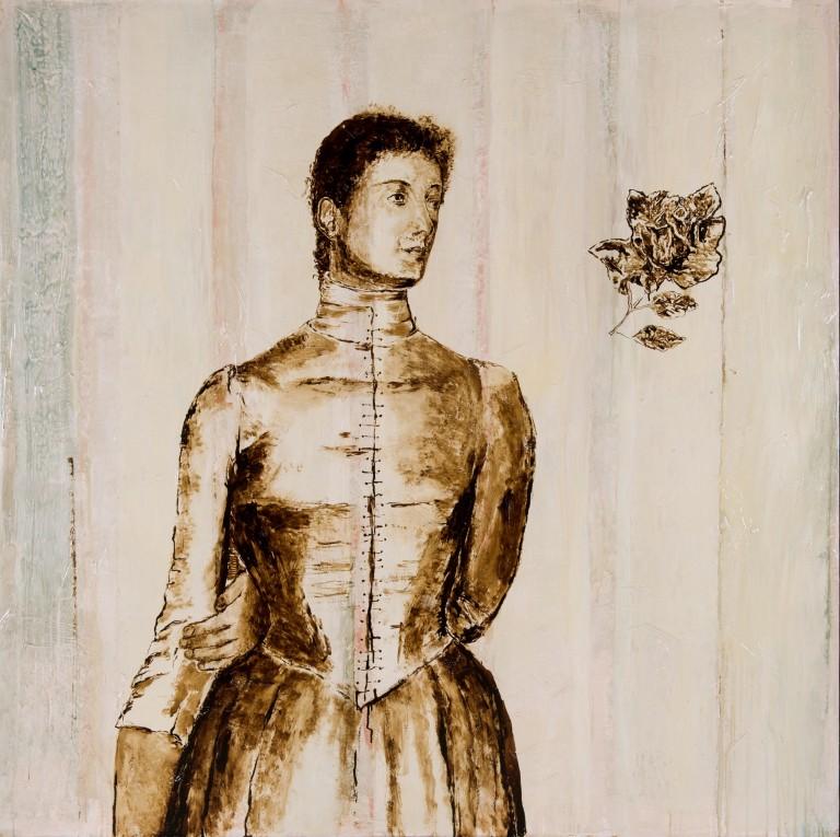 """Huile sur toile, technique mixte, """"Marguerite Khnopff"""" ou """"Contre dame"""", 160x160cm, 2012"""