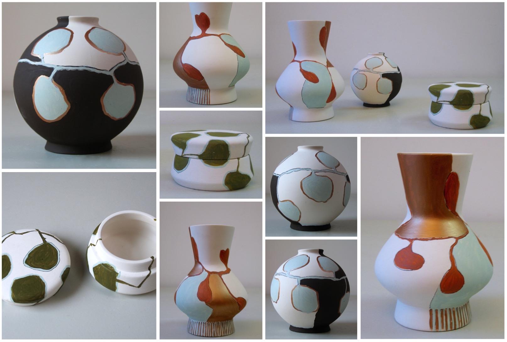 Collection Bégonia, vase boule noire et bleu, Petit doré et orange, boite à feuilles liane verte