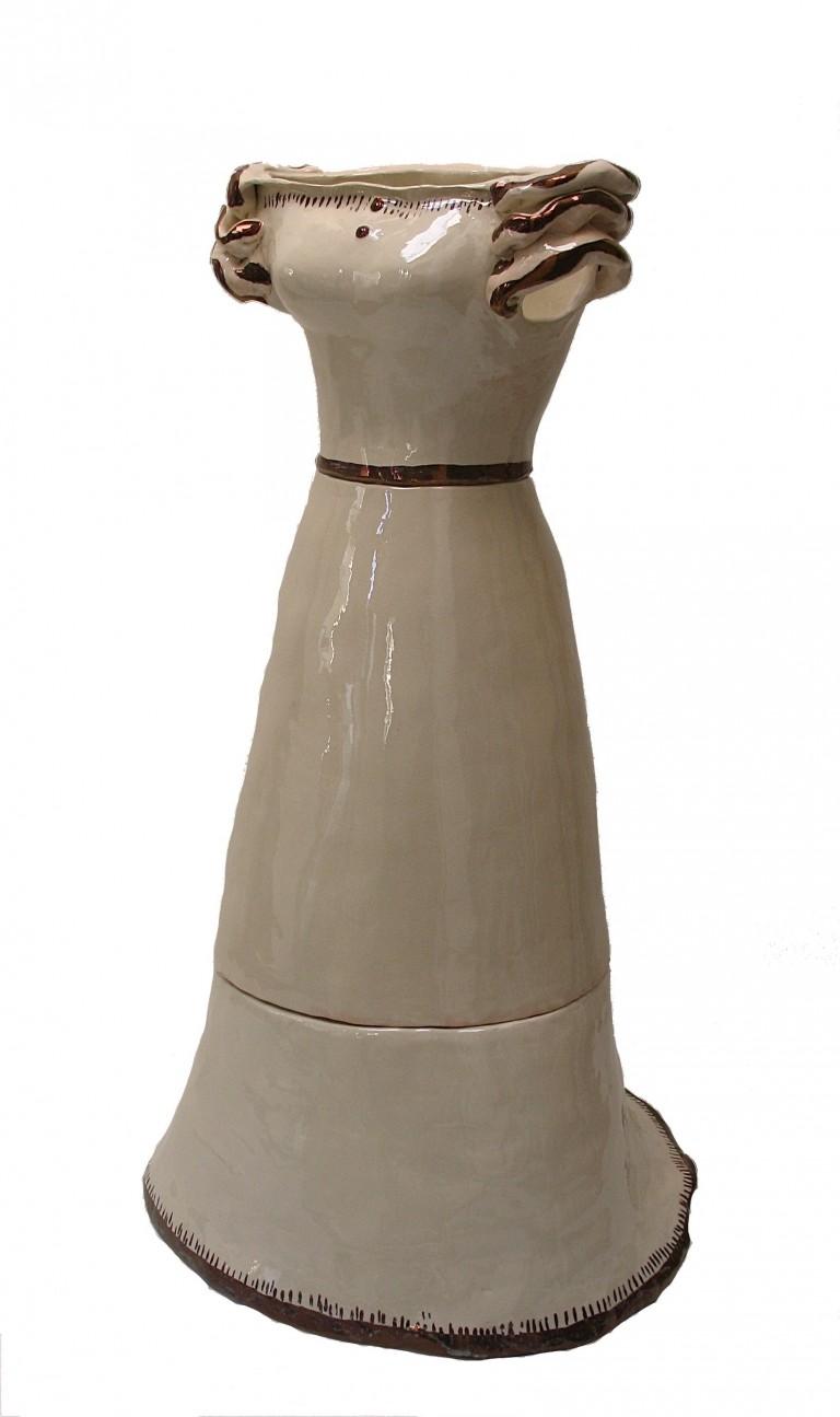 """""""Joséphine et Merveilleuse"""" Sculpture à l'échelle 1, faïence émaillée craquelée rehaussée au lustre bronze, haut 160 cm, diam 60 cm, 2008"""
