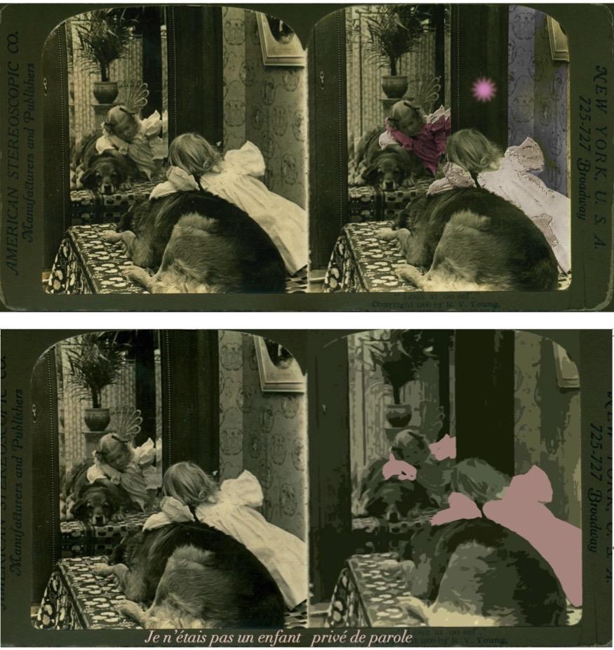Variations «Petite fille avec son chien loup», tirage sur papier velin, 10 x 18 cm, 2015 d'après stéréo XIX ième. Encadré 18 x 34 cm
