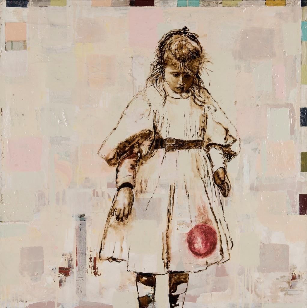 Huile sur toile, technique mixte, «Sophie de Mey jouant à la balle », 100 x 100 cm, 2015, d'après une photographie d'Henri Evenepoel, prise de vue Isabelle Morison