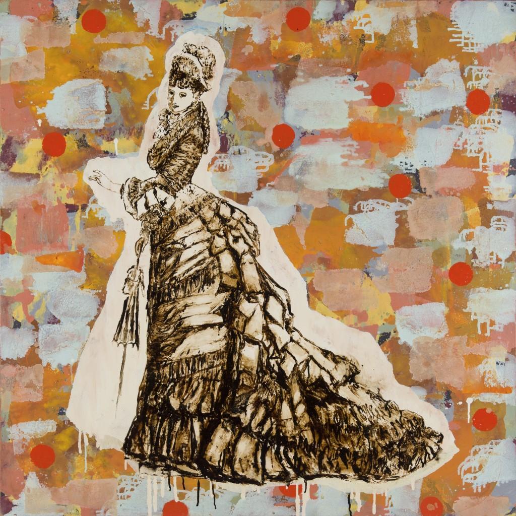"""""""Parisienne 2"""" huile sur toile, technique mixte, goudron, 130x130cm, 2003, d'après un patron de mode. Photographie Isabelle Morison"""