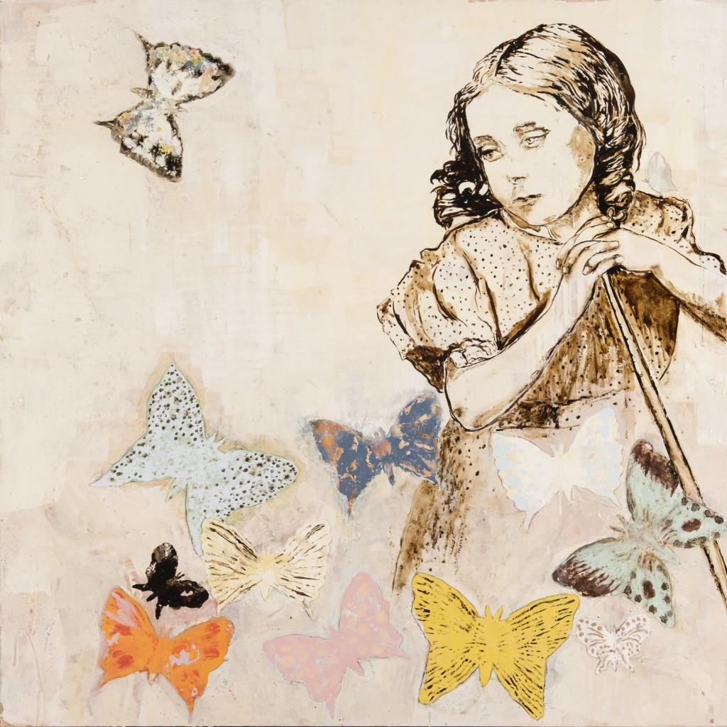 Huile sur toile, technique mixte, «Papillons et Amy Hughes », 110 x 110 cm, 2015, d'après une photographie de Lewis Carroll, prise de vue Isabelle Morison