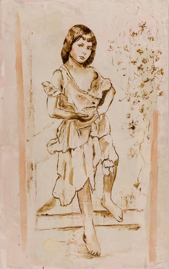 Huile sur toile, technique mixte, «La petite mendiante» 73 x 116 cm, 2015 d'après «Alice Liddell» photographiée par Lewis Carroll , prise de vue Isabelle Morison
