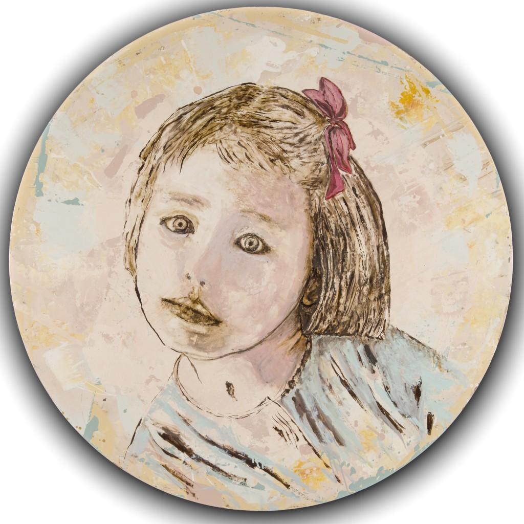 """""""Mon Alice"""" huile sur toile technique mixte, Tondo 120 cm , 2015 collection particulière"""