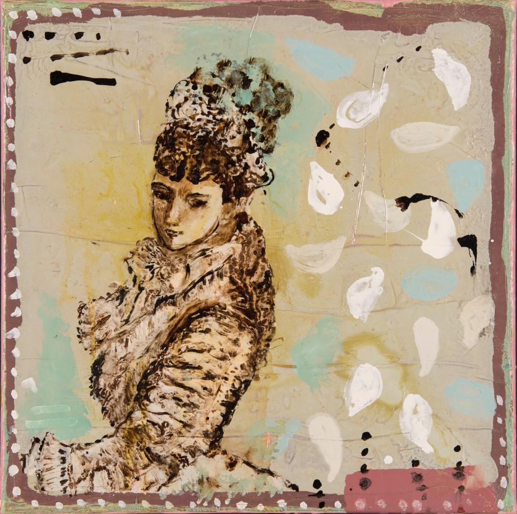 """""""Parisienne"""" buste. Huile sur toile, technique mixte, goudron, 40x40cm, 2004, d'après un patron de mode. Photographie Isabelle Morison"""