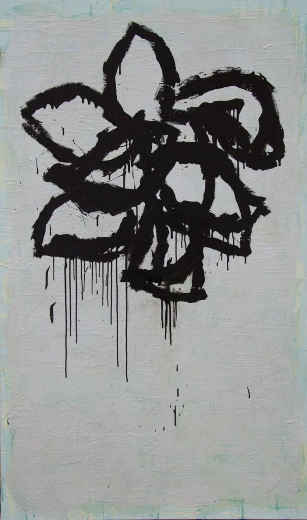 Huile sur toile, technique mixte, acrylique, 97x162 cm, sans titre, noir, 2016
