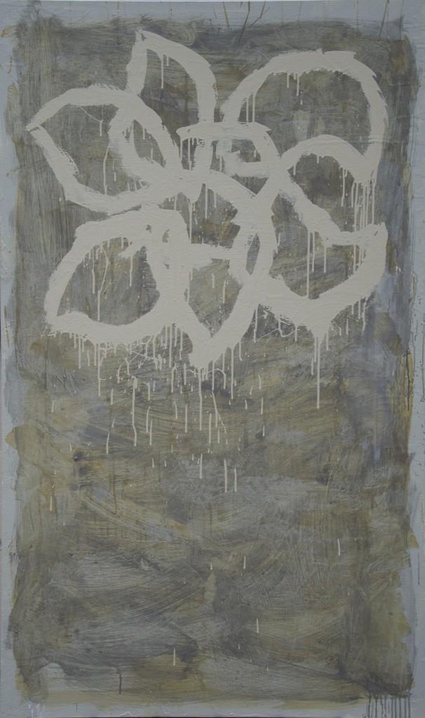 Huile sur toile, technique mixte, acrylique, 97x162 cm, sans titre, blanche, 2016