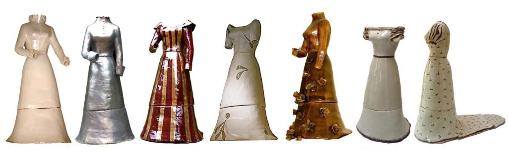 """Robes à l'échelle 1, céramique, Haut 160 env, largeur 65 cm (de gauche à droite) """"Virgin Queen"""", """"Esclarmonde Cathare"""", """"Esclarmonde de Foix"""", """"Peinteuse"""", """"Contredame"""", """"Merveilleuse"""", """" Joséphine"""""""