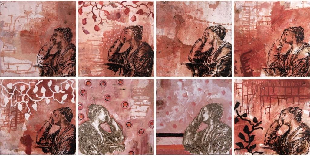 Série de 8 huiles sur toile 40 x 40 cm, goudron, technique mixte