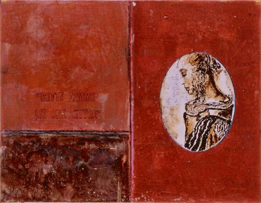"""Série de 7 peintures, """"Cette femme lit une lettre"""", huile, goudron, 50 x 65 cm, 2003"""