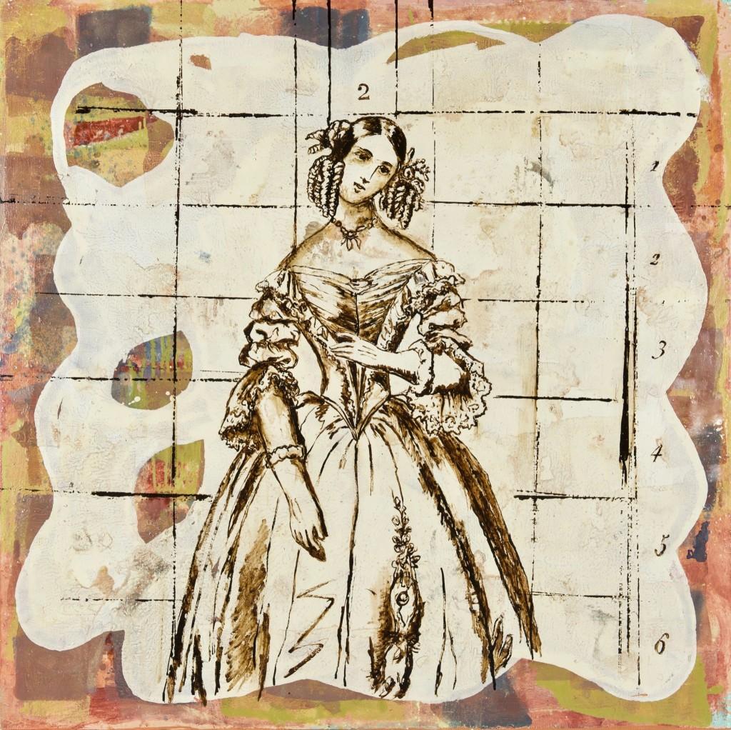 Huile sur toile avec goudron 130 x 130 cm d'après un patron de mode de 1860, 2003