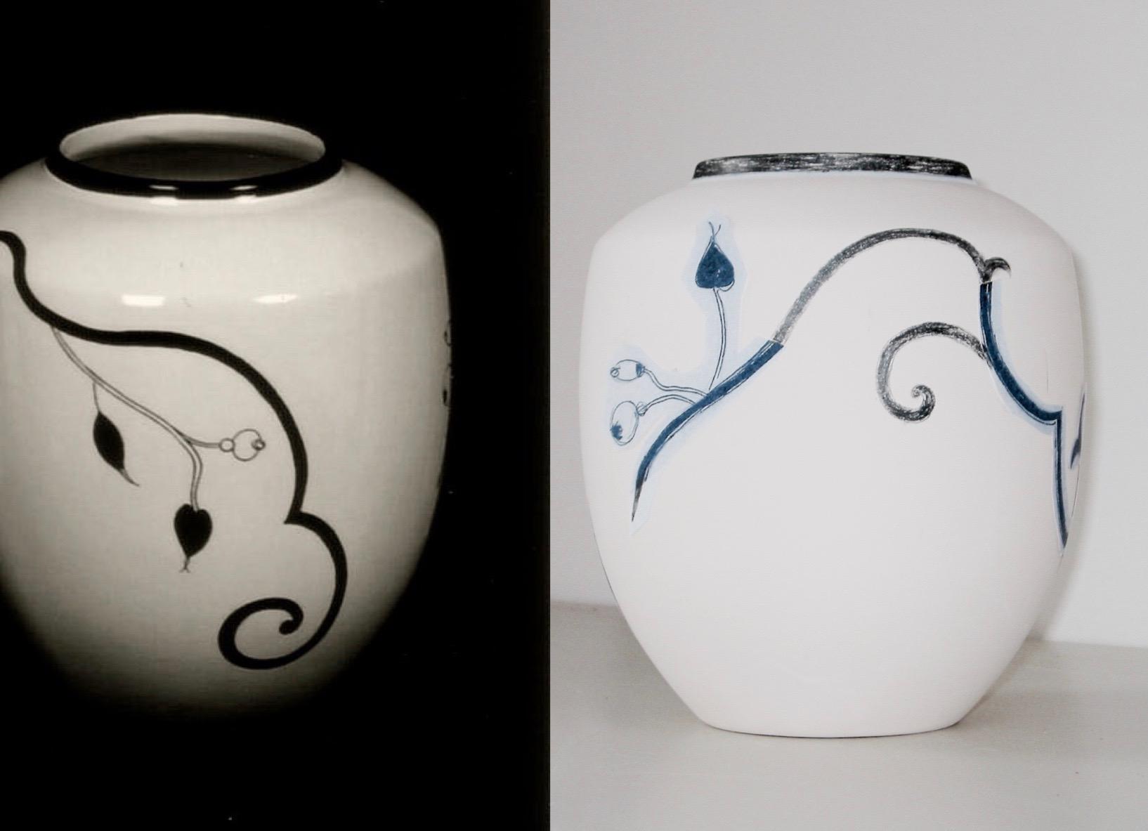 Vase Arabesque Ivoire/noir d'après le modèle du dessin mis en place sur le biscuit