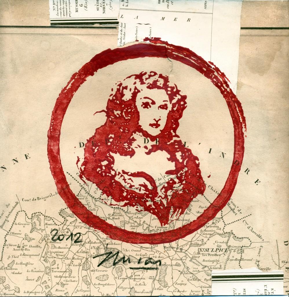 """Dessin/peinture, """"Madame de Montespan"""", 24 x 26 cm 2012, œuvre réalisé à partir d'un tampon"""