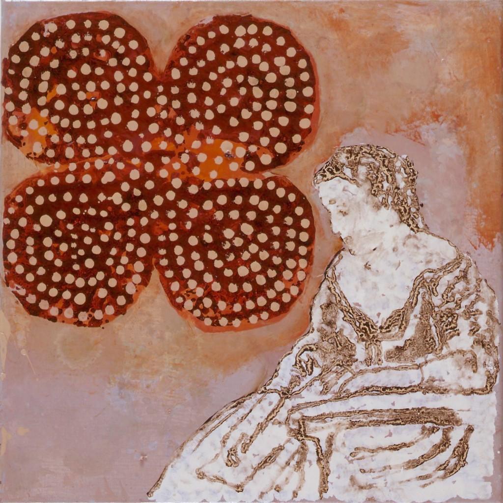 Une des 13 Liseuses, Huile sur toile, technique mixte, 50 x 50 cm 2003